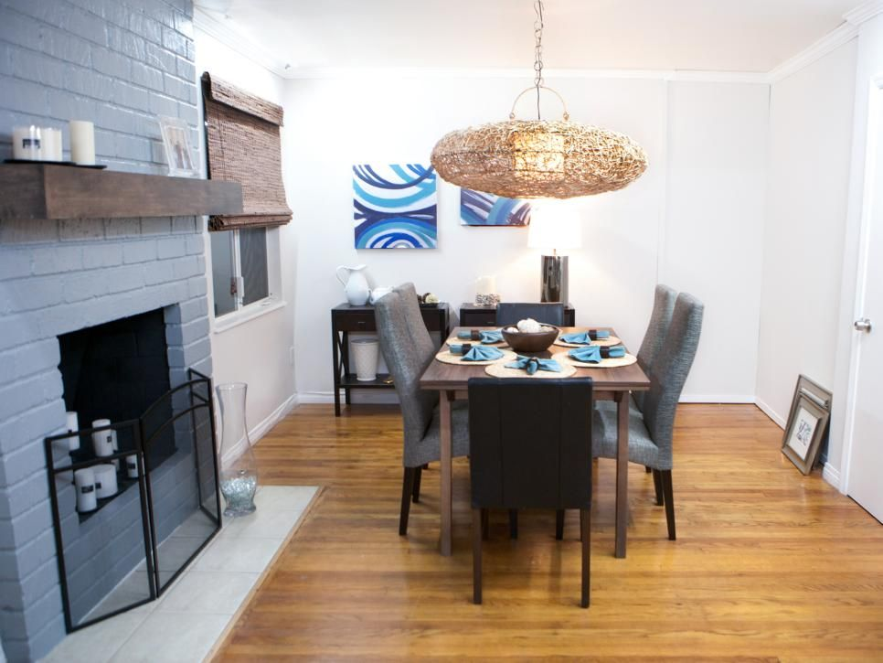This dated dining area went from drab to fab with new accessories, blue paint and a creative designer's eye.