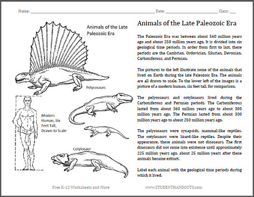 Animals Of The Late Paleozoic Fun Science Worksheet For Grades 4