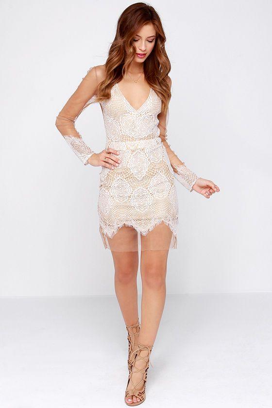Beautiful Mesh Tan And Ivory Lace Dress At Lulus