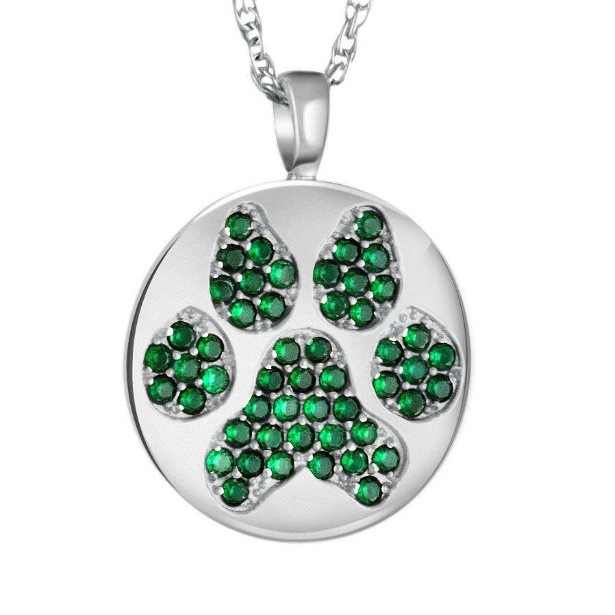Simulated emerald paw disc necklace this striking necklace is