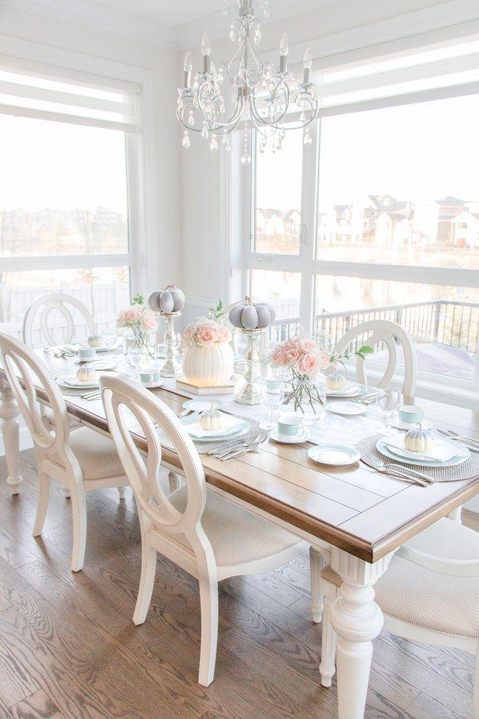 Blush and Aqua Fall Tablescape | Aqua dining rooms, Dining ...