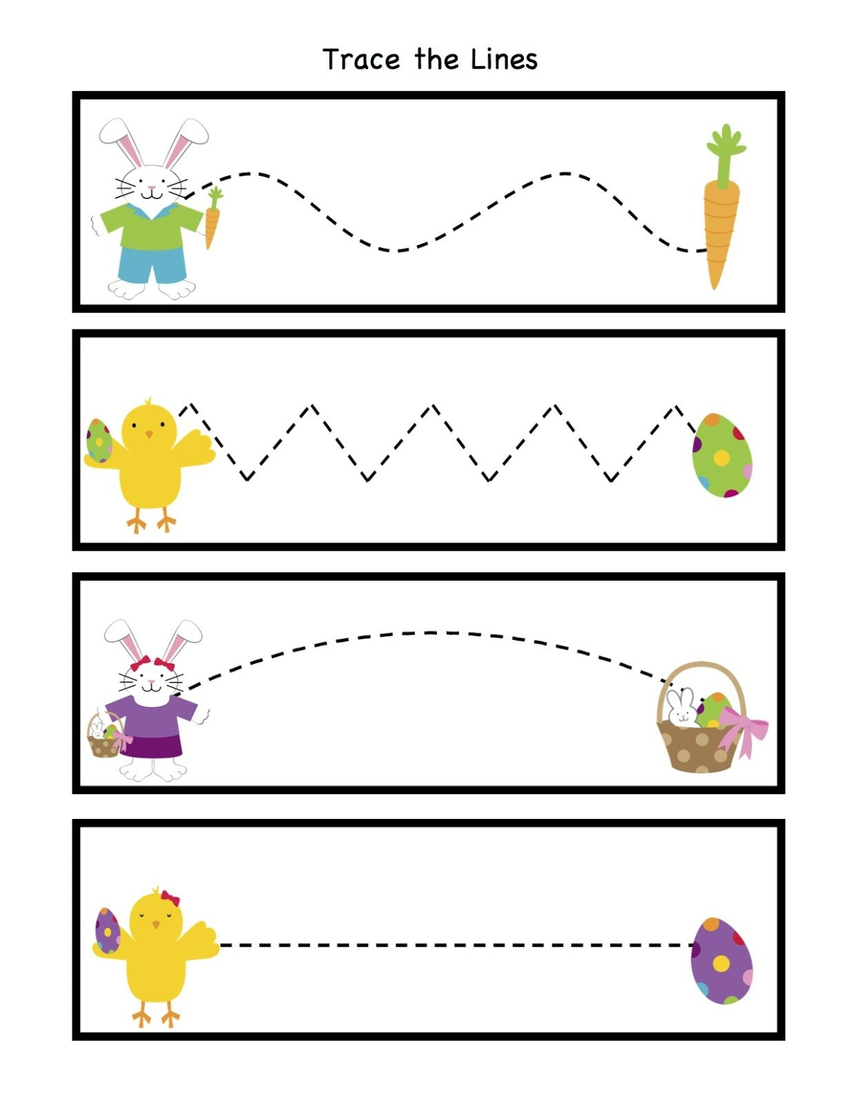 Easter Trace the Lines | Crafts and Worksheets for Preschool,Toddler ...