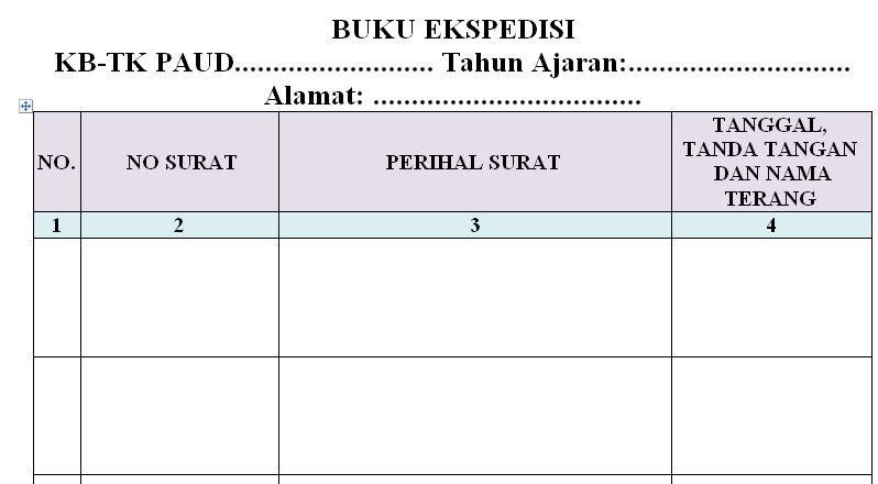Dokumen Contoh Format Buku Ekspedisi Untuk Paud Ra Tk