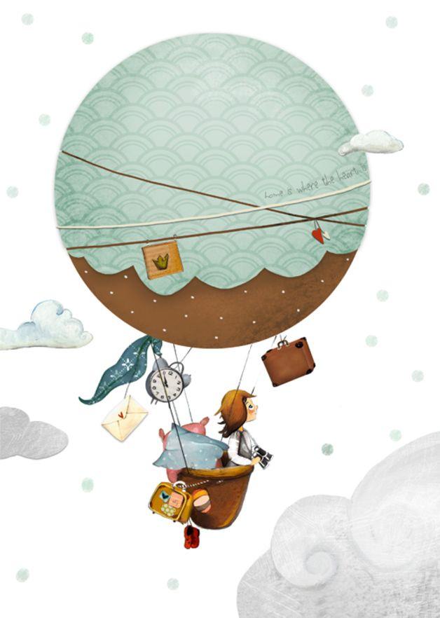 "Bilder Kinderbild ""Heißluftballon"" Kinderzimmer ein"