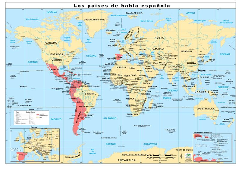 Map Of Spanish Speaking Countries With Names French Speaking