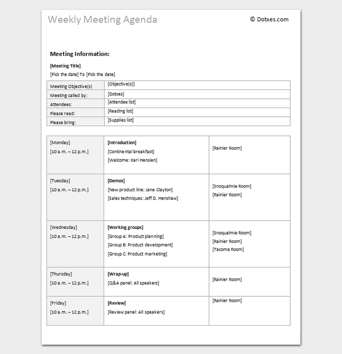 Weekly Meeting Agenda Outline Template  Outline Templates