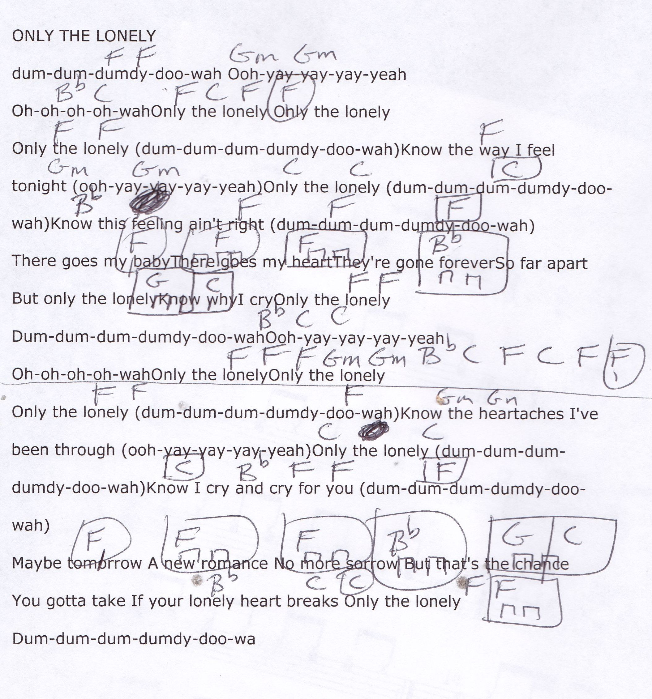 Only The Lonely Roy Orbison Guitar Chord Chart Guitar Lesson
