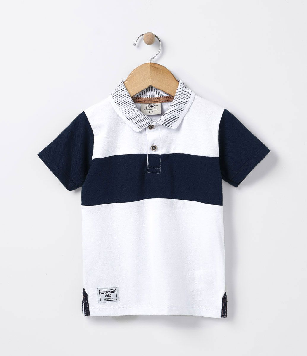 Camiseta infantil Manga curta Gola polo Com recorte Marca  Póim Tecido   meia malha COLEÇÃO dc3d9cfdbc049
