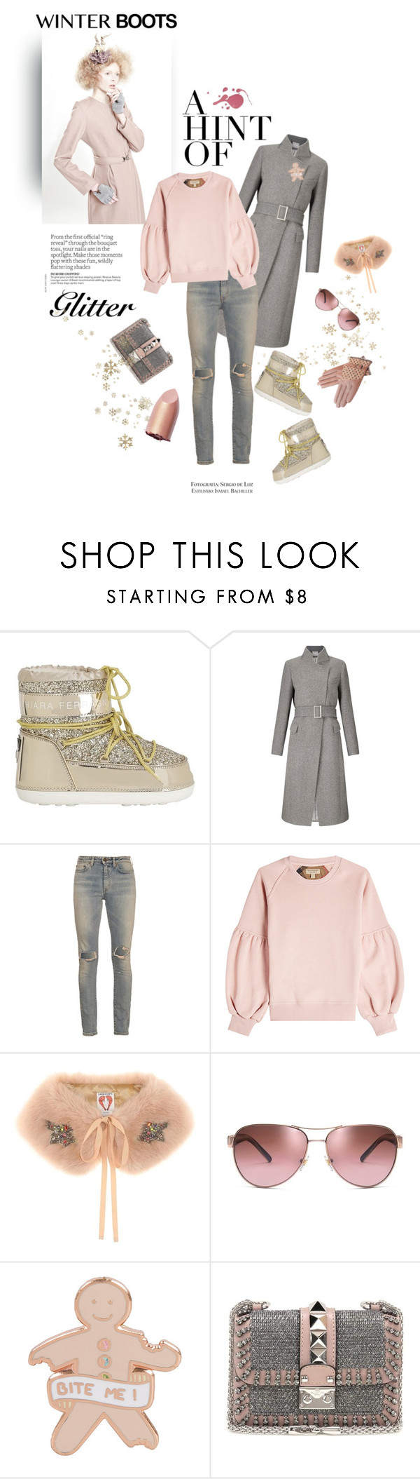 """""""there is no such thing as too much glitter"""" by iriadna ❤ liked on Polyvore featuring Yuliya Babich, Chiara Ferragni, Yves Saint Laurent, Burberry, Shrimps, Tory Burch, Valentino, Pink, rippedjeans and pinkandgray"""