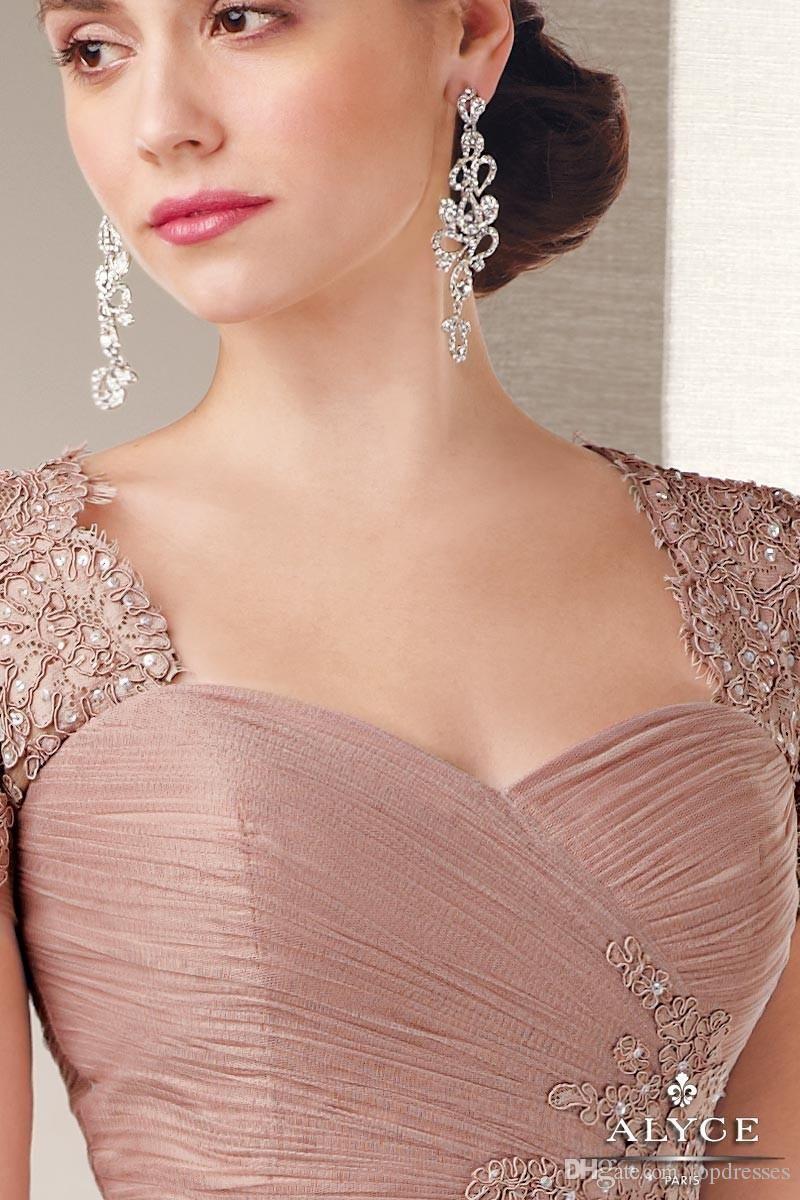 elegant champagne tulle a line short sleeves long evening dress