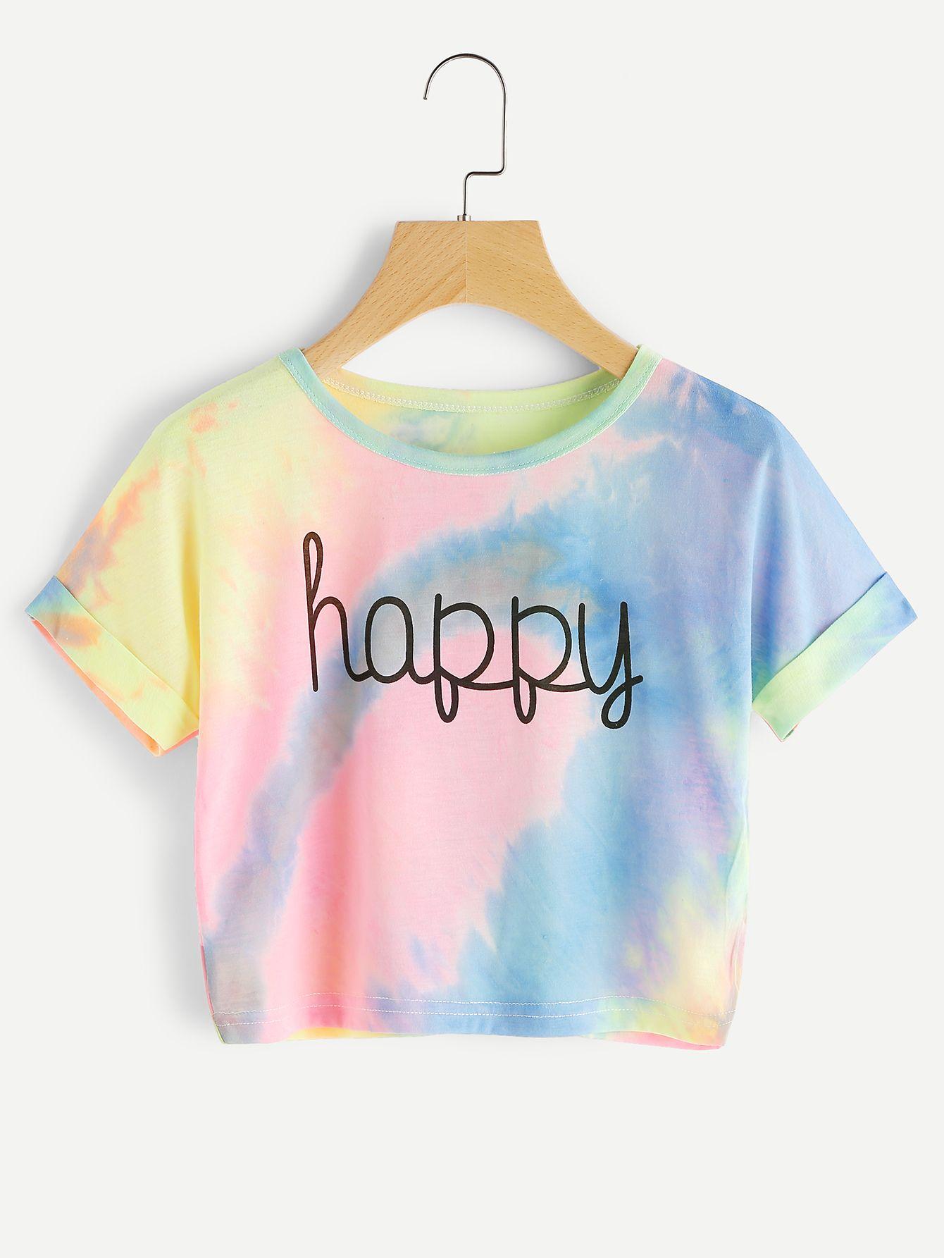 982db8903c3703 Camiseta de doblez con estampado de acuarela y letras-Spanish  SheIn(Sheinside)