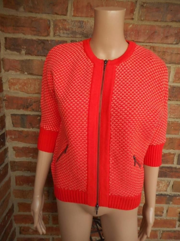 CAbi Cocoon Cardigan Sweater Size XS Women #195 Zip Cotton Pockets ...