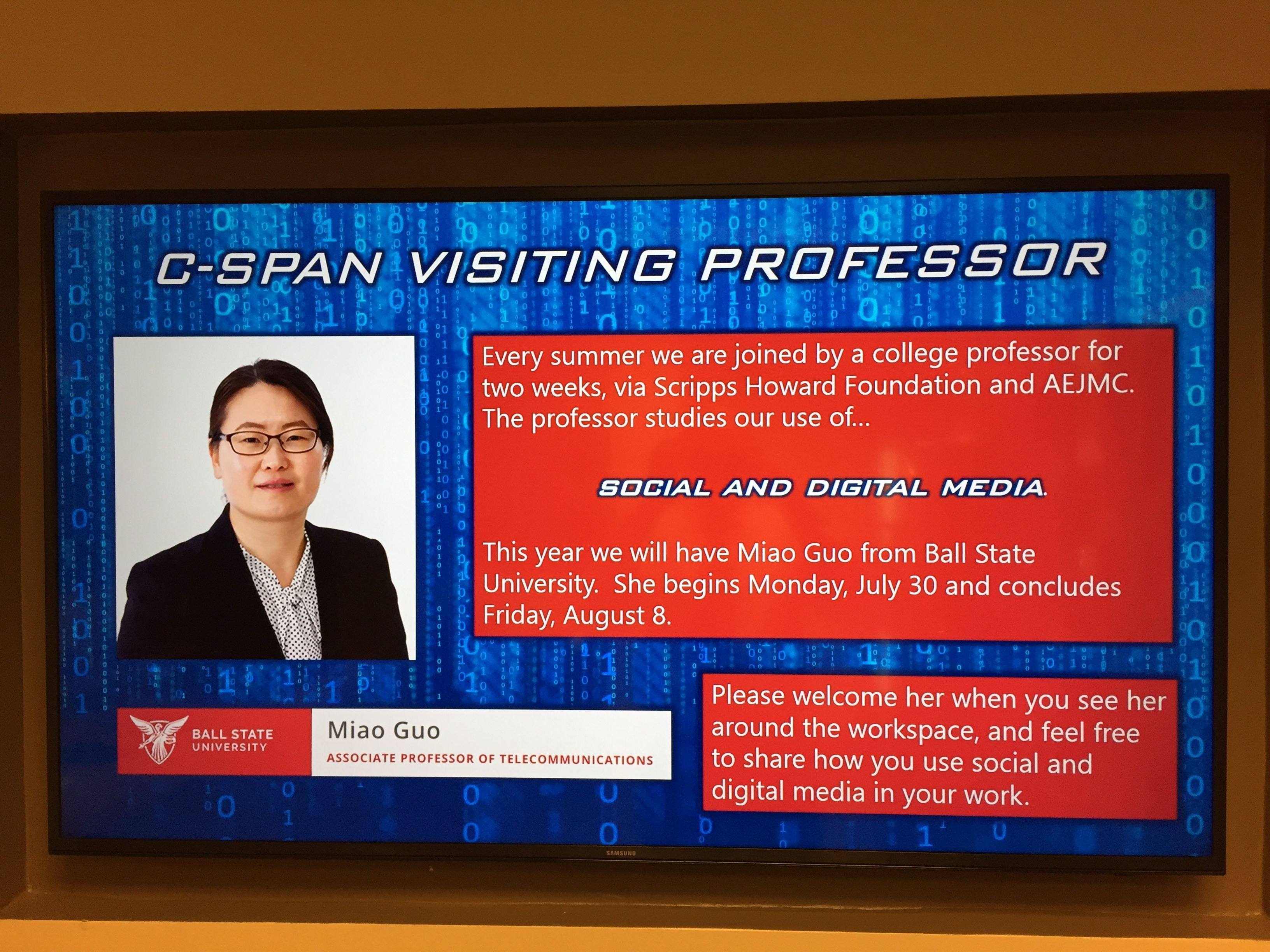 C-SPAN welcomes SHF Visiting Professor Miao Guo from Ball