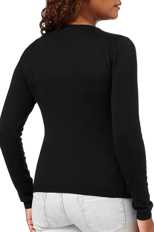 Womens Button Down Long Sleeve Knit Cardigan Sweater - V Neck-black ... 32d098db3