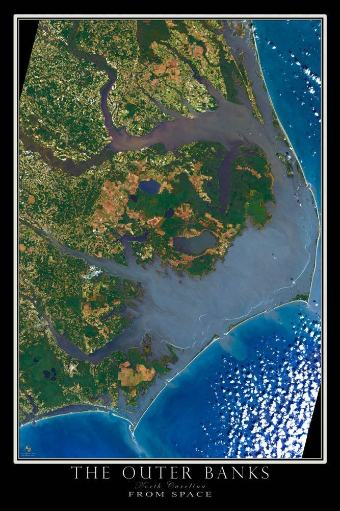 Outer Banks North Carolina Satellite Poster Map February - Map of the us poster size