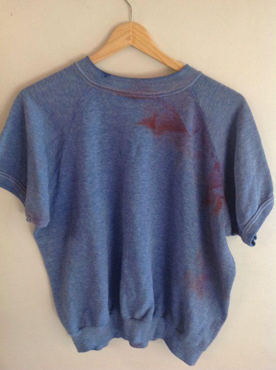 Vintage 60's 70's Short Sleeve Sweatshirt Blue Medium - Stains ...