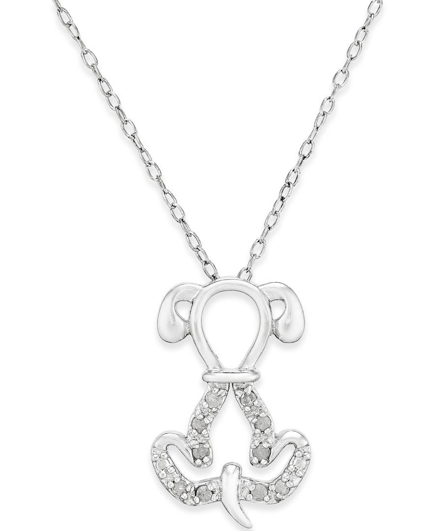 Diamond dog pendant necklace 110 ct tw in sterling silver diamond dog pendant necklace 110 ct tw in sterling silver aloadofball Gallery