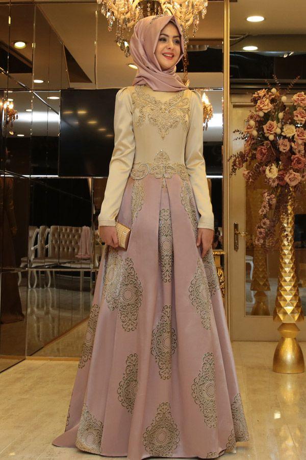 Pinar Sems Harem Abiye Lila Elbise Moda Stilleri Islami Moda