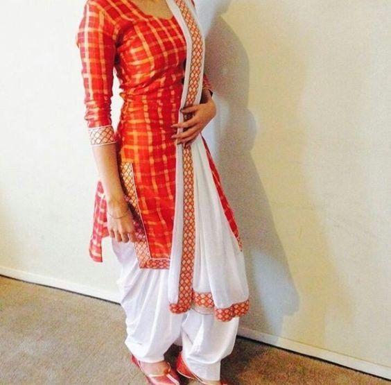Red Check Beautiful Patiala Salwar Suit For Girl Salwar Pattern