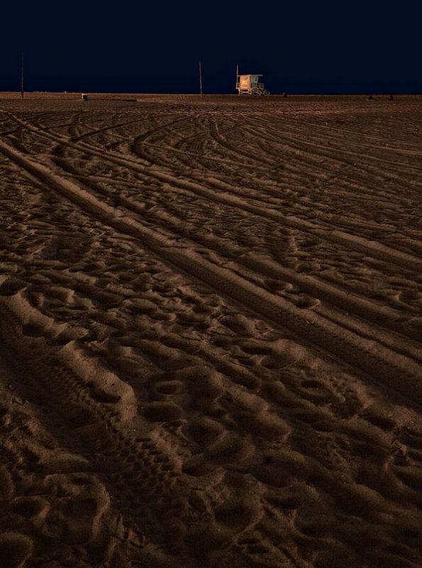 Night Time On Santa Monica Beach