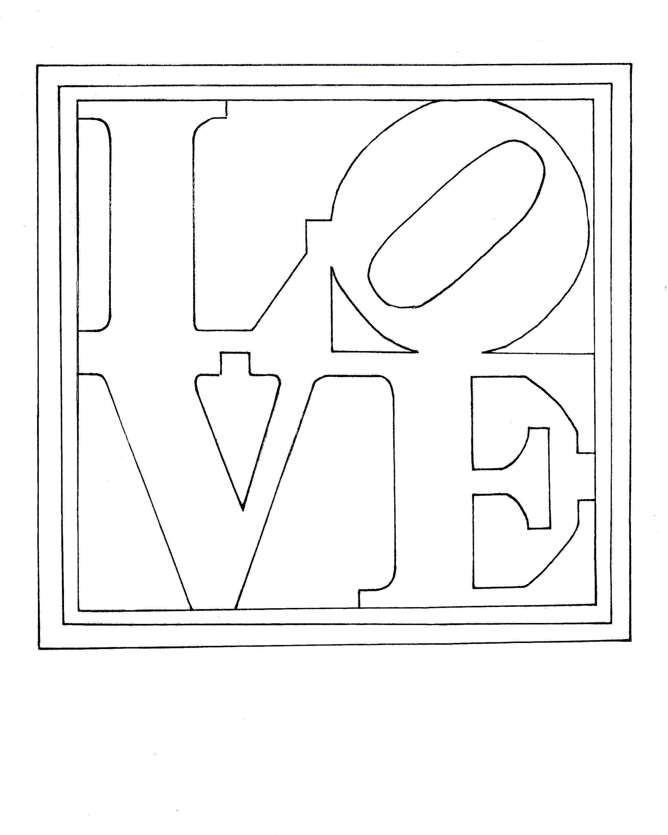 Colouring Page Of Robert Indiana S Famous Painting Sculpture