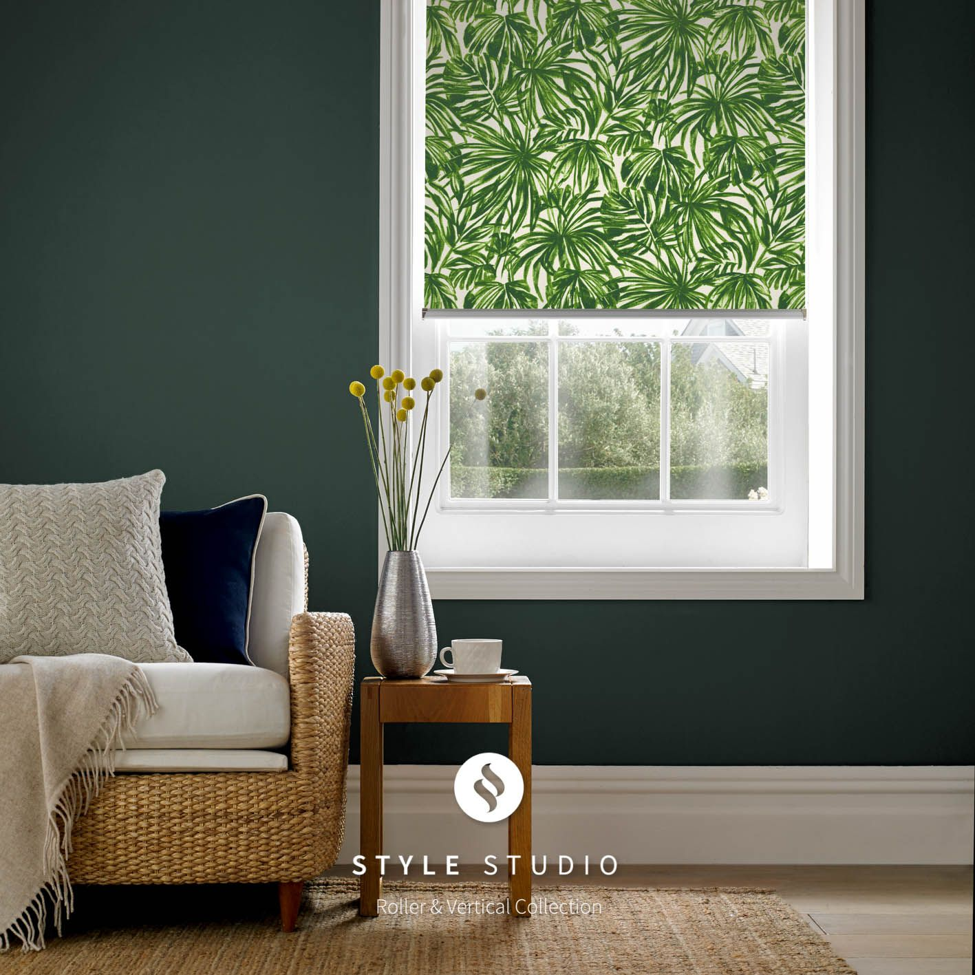 Roller Blind By Eclipse Tropics Verde Fabric Use Deep Shades As A Backdrop On Greens For