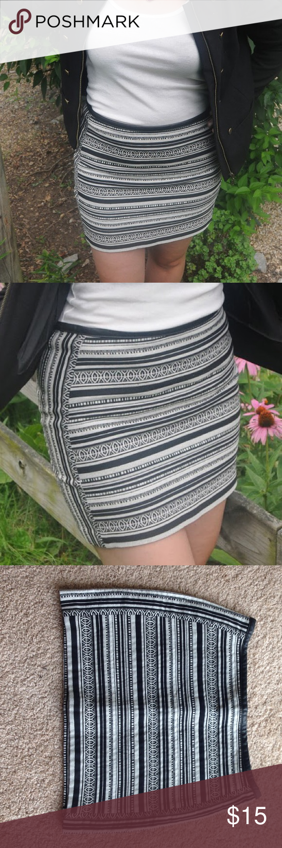 H&M printed mini skirt Size 10 black & cream printed mini skirt from H&M. Only worn a handful of times. Excellent condition. H&M Skirts Mini
