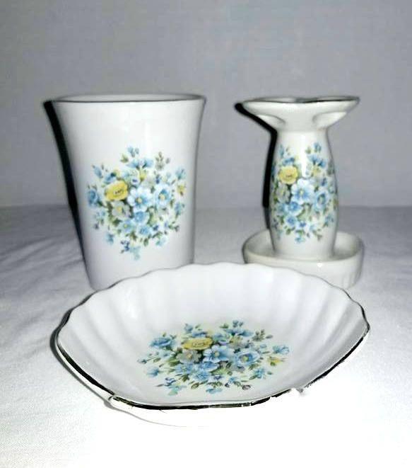 Vintage Blue Bathroom Set,Shabby Chic,Porcelain Bathroom Set,3 Pc