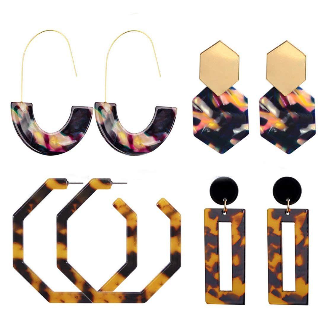 Boho Acrylic Statement Long Tassel Earrings Fashion Hoop Resin Dangle Earrings
