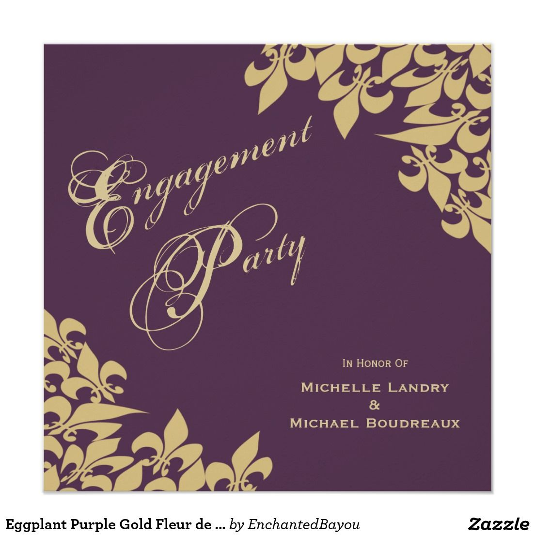 Eggplant Purple Gold Fleur De Lis Engagement Party Card Purple