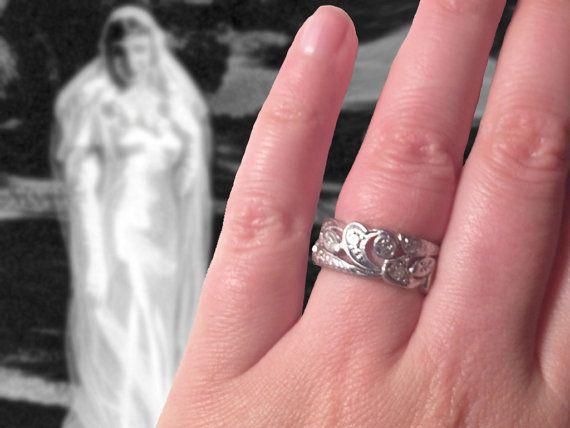 Size 6 Art Deco Platinum Eternity Wedding Band by HelenMayVintage