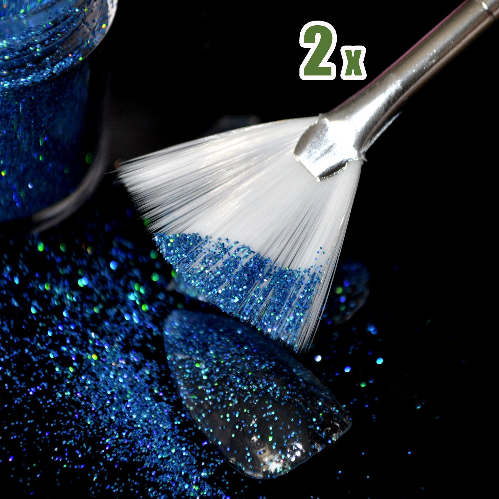 2 pcs Nail Design Brosse Fan Forme Glitter Gradient Ongles Brosse Outil Long Taille B04