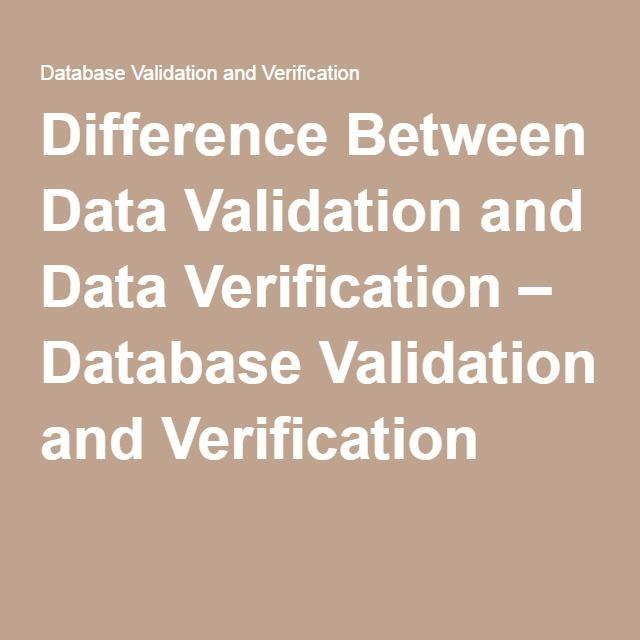 data validation and verification