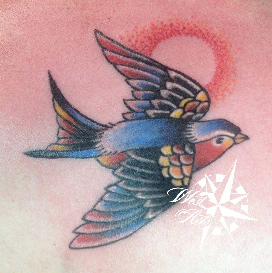 Traditional Bird Lovebird Sparrow Tattoo