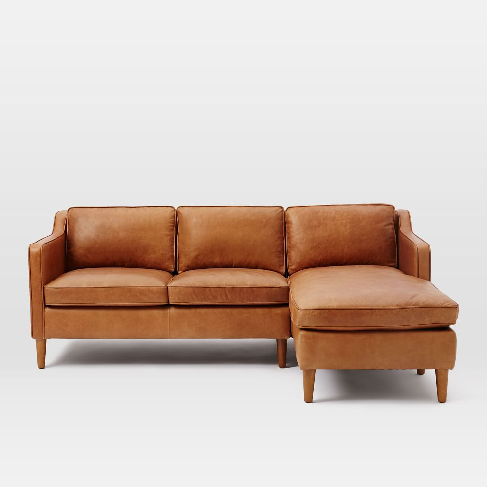 Hamilton 2 Piece Leather Chaise Sectional In 2020 Leather Chaise Sofa Couch With Chaise Leather Sectional