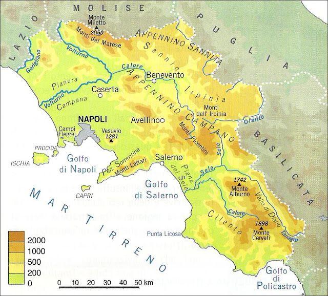 Cartina Geografica Politica Campania.Campania Cartina Fisica Jpg 640 578 Bildepunkter Campana