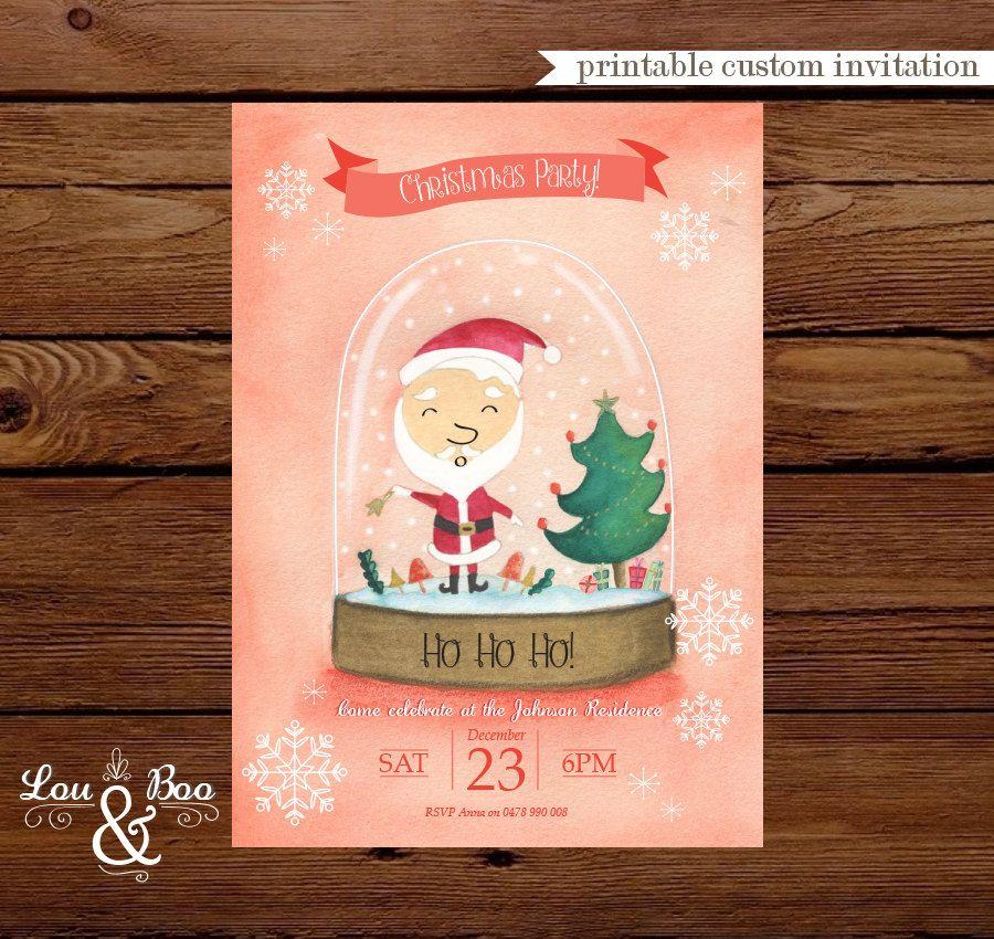 Printable Santa snow globe holidays custom christmas party ...
