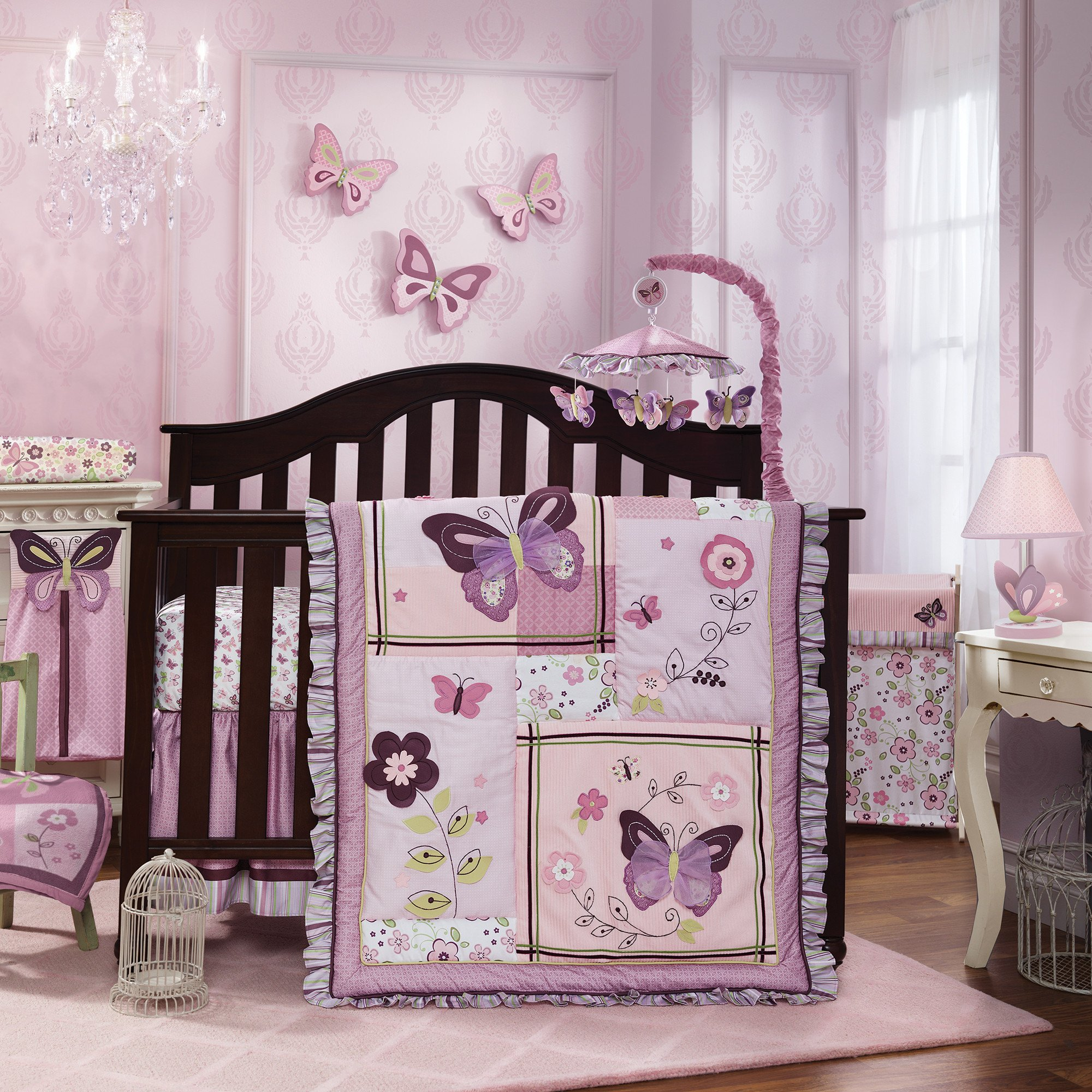 Butterfly Bloom Purple Garden Floral 6 Piece Nursery Baby Crib
