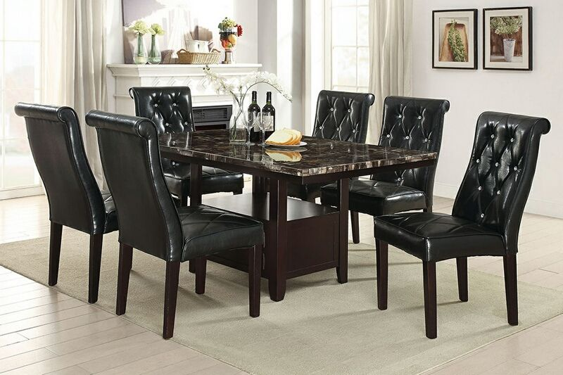 7 Pc Arenth II Collection Espresso Finish Wood Faux Marble Top Dining Table Set With Tufted Chairs This Includes The 6