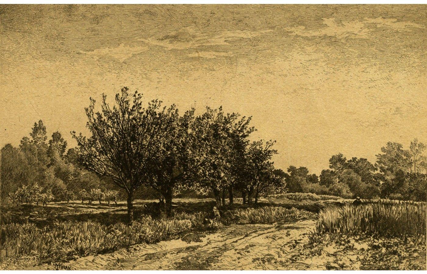 Charles-François Daubigny - 1870 Etching, Figures Under Trees in a Landscape - Sulis Fine Art