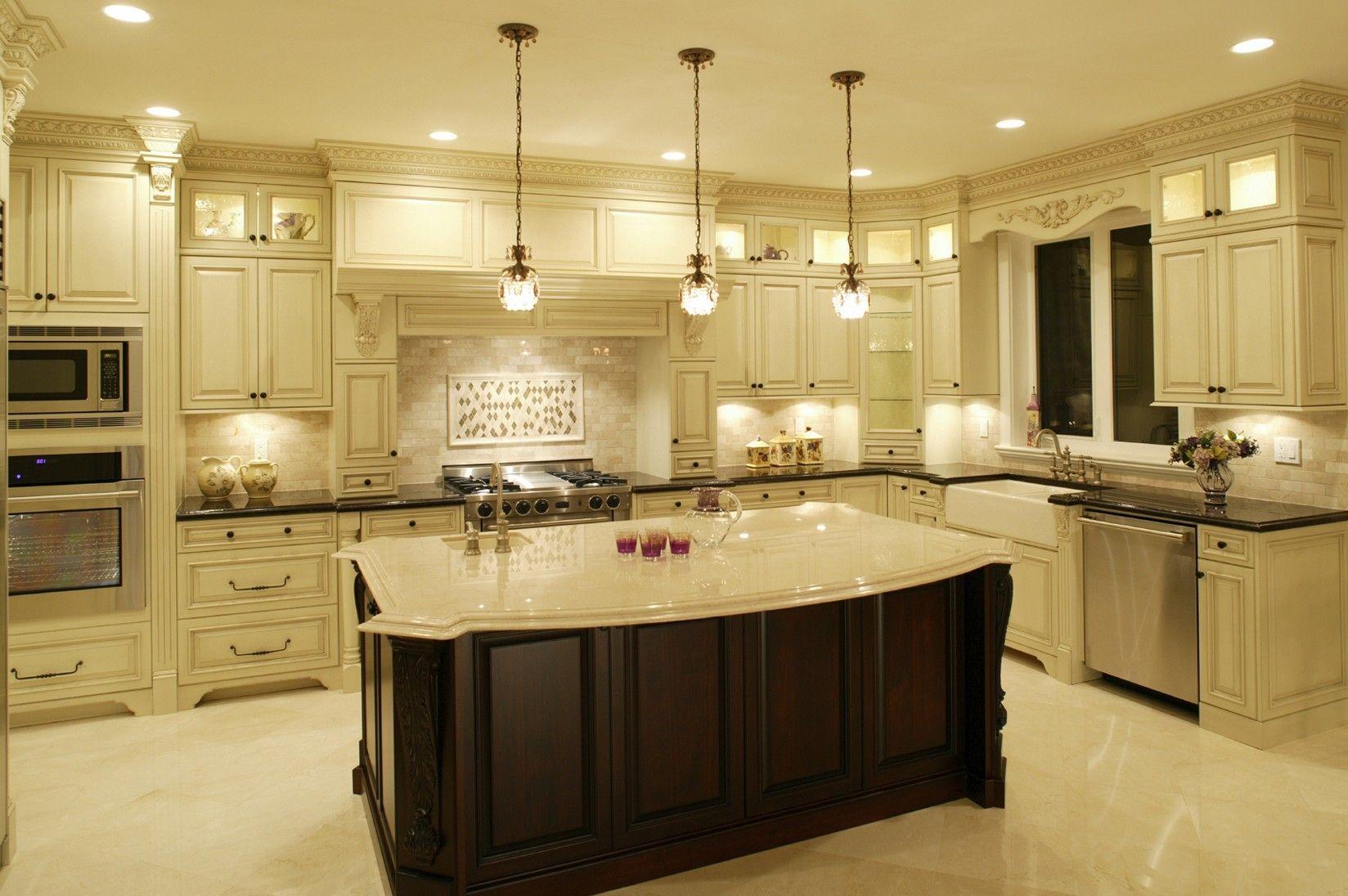 Cream Colored Kitchen Cabinets With Dark Island Antique White Kitchen Kitchen Lighting Design Beautiful Kitchens