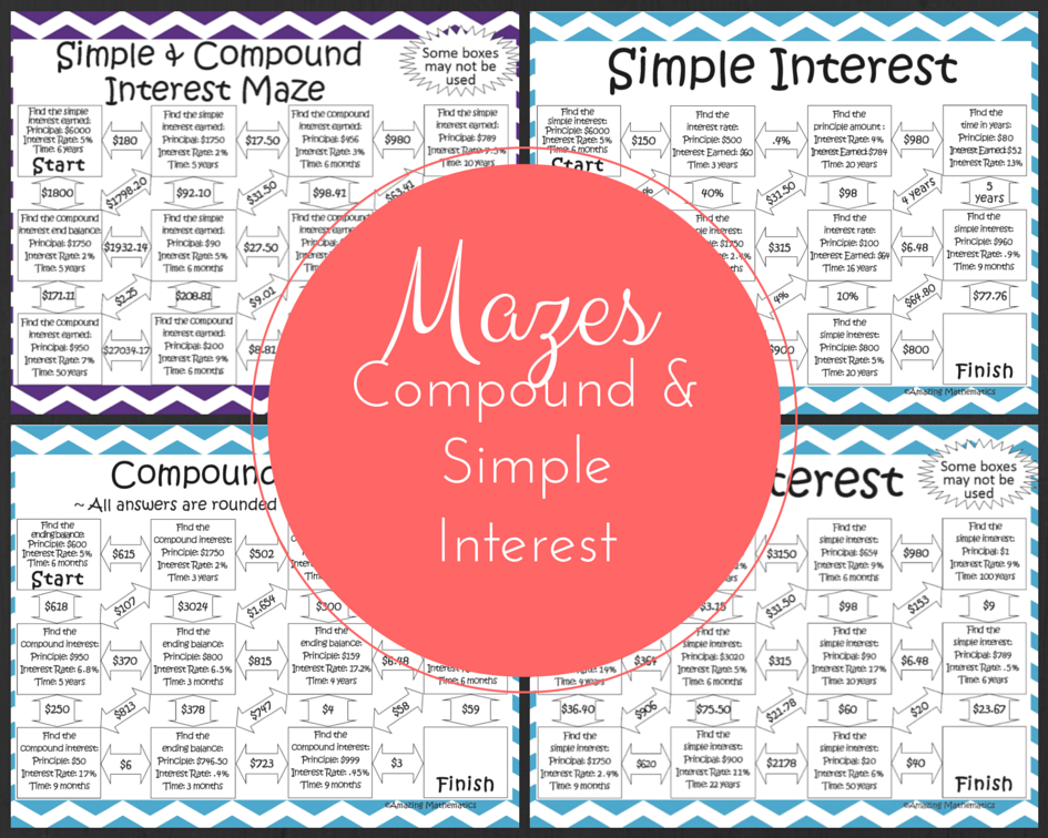 Simple and Compound Interest Activities Bundle (5 Mazes and 1 Set of ...