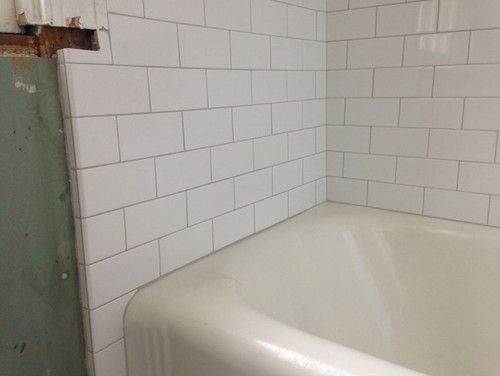 White Subway Tile With Off White Similar To Biscuit Tub