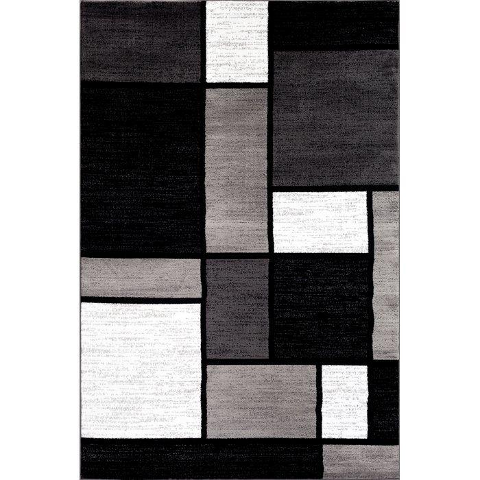Lorenzo Gray Black White Area Rug Modern Area Rugs Area Rugs Rugs