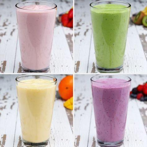 Diese smoothen Frühstückssmoothies kannst du vorbereiten und somit jeden Tag fruchtig-frisch starten #gezondeten