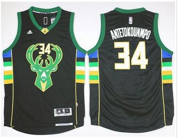 0d2a539db Milwaukee Bucks  34 Giannis Antetokounmpo Black Alternate Stitched NBA  Jersey