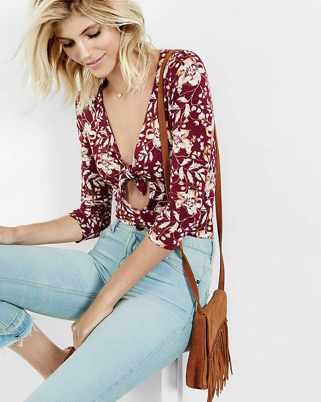 Express One Eleven Floral Tie-front Bodysuit from EXPRESS
