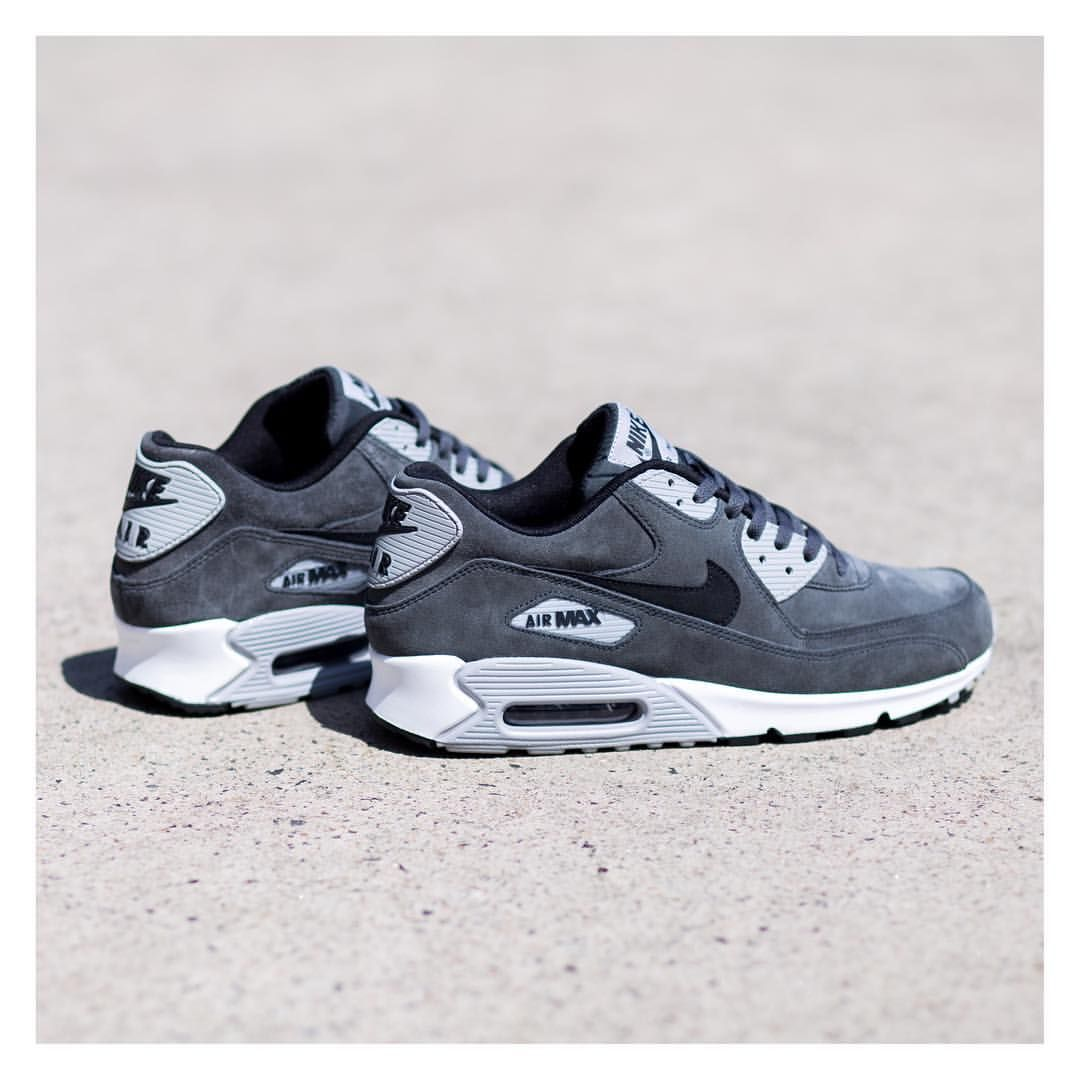 nike air max 90 grey blue leather uomo trainers