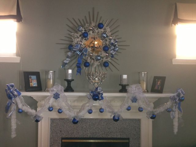 Holiday Garland Chanukah Mantle Blue White Silver Garland Festival of Lights Hanukkah garland Hanukkah mantle Winter decor