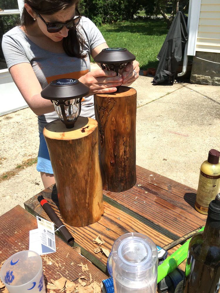 DIY Stump Solar Lights Solar lights, Backyard, Outdoor decor